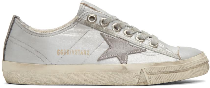 Golden Goose Silver V-star 2 Sneakers