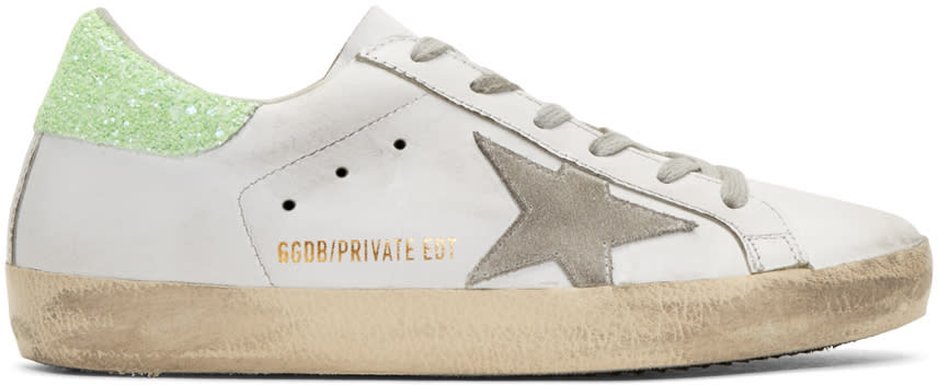 Golden Goose Ssense Exclusive White and Green Superstar Sneakers
