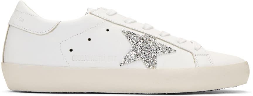 Golden Goose White Swarovski Crystal Superstar Sneakers