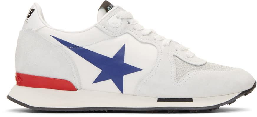 Golden Goose White Blue Star Running Sneakers