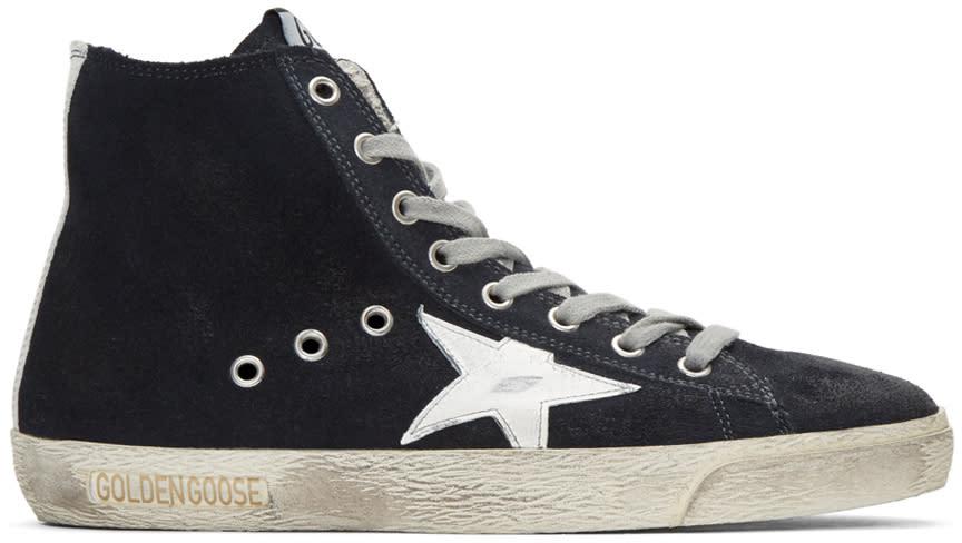 Golden Goose Navy Suede Superstar High-top Sneakers
