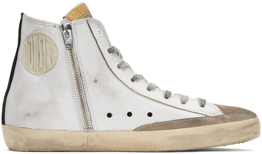 Golden Goose White and Black Flag Francy High-top Sneakers
