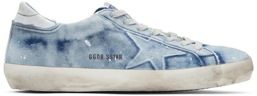 Golden Goose Blue Bleached Denim Superstar Sneakers