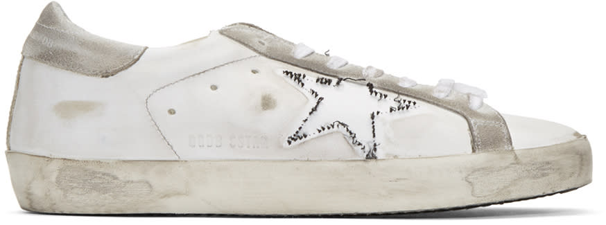 Golden Goose White Ripped Off Superstar Sneakers