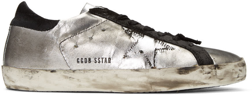 Golden Goose Silver Ripped Off Superstar Sneakers