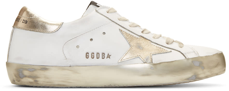 Golden Goose White Sparkle Superstar Sneakers