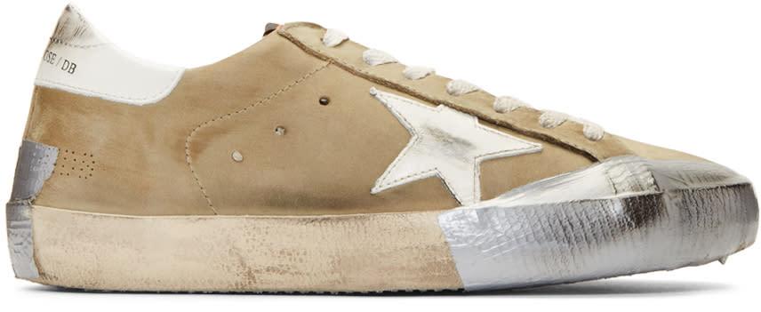 Golden Goose Green Nubuck Superstar Sneakers