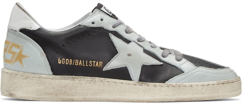 Golden Goose Black and Blue Ball Star Sneakers