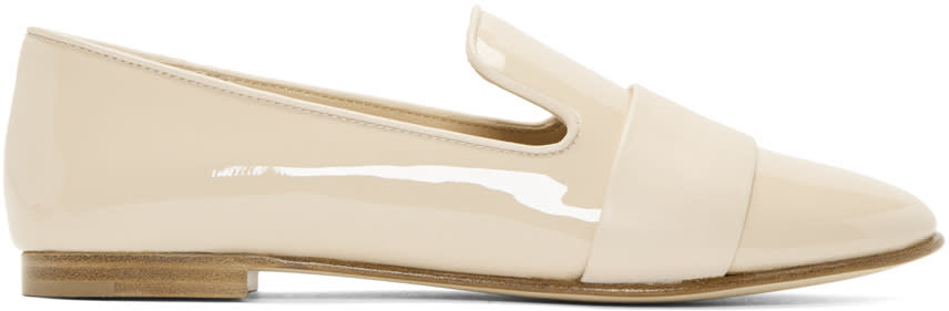 Giuseppe Zanotti Beige Patent Leather Band Loafers