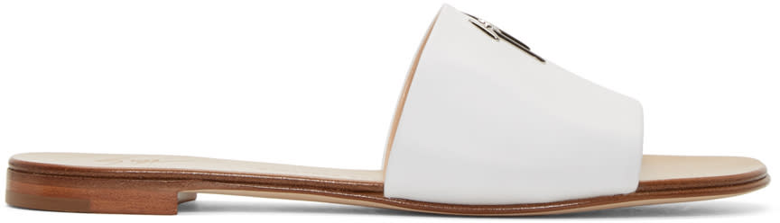 White Leather Logo Sandals