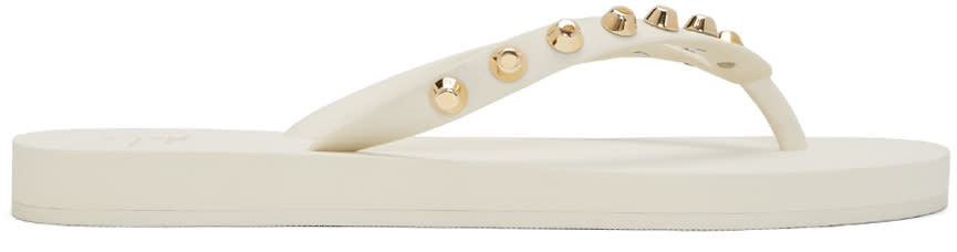 Giuseppe Zanotti White Studded Hollywood Sandals