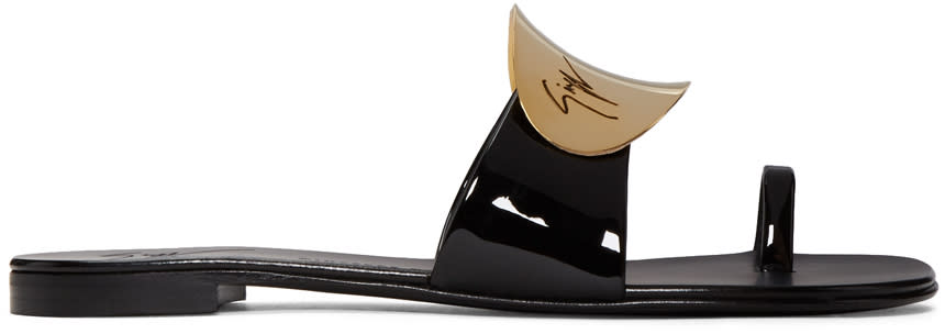 Giuseppe Zanotti Black Patent Mirror Nuvorock Sandals