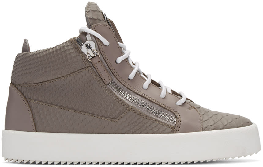Grey Python-embossed London High-top Sneakers
