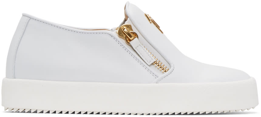 Giuseppe Zanotti White Leather London Slip-on Sneakers