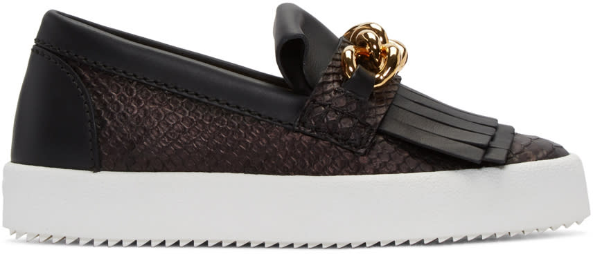 Giuseppe Zanotti Black Python-embossed London Slip-on Sneakers