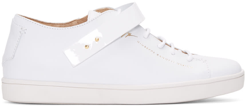 Giuseppe Zanotti White Leather Strap Sneakers