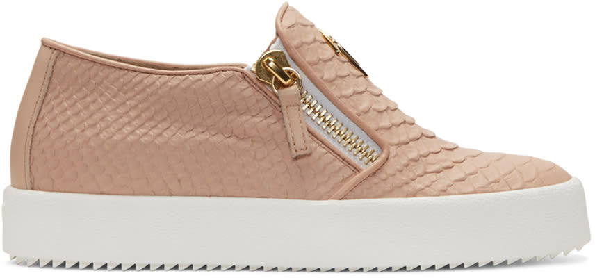 Giuseppe Zanotti Pink Snake-embossed London Slip-on Sneakers