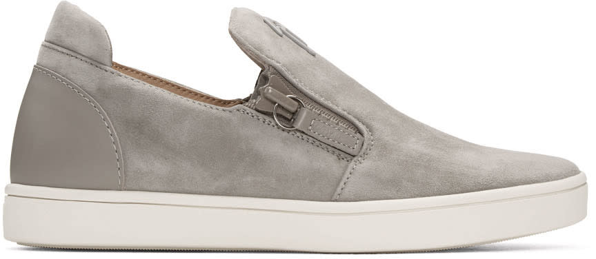 Giuseppe Zanotti Grey Suede London Slip-on Sneakers