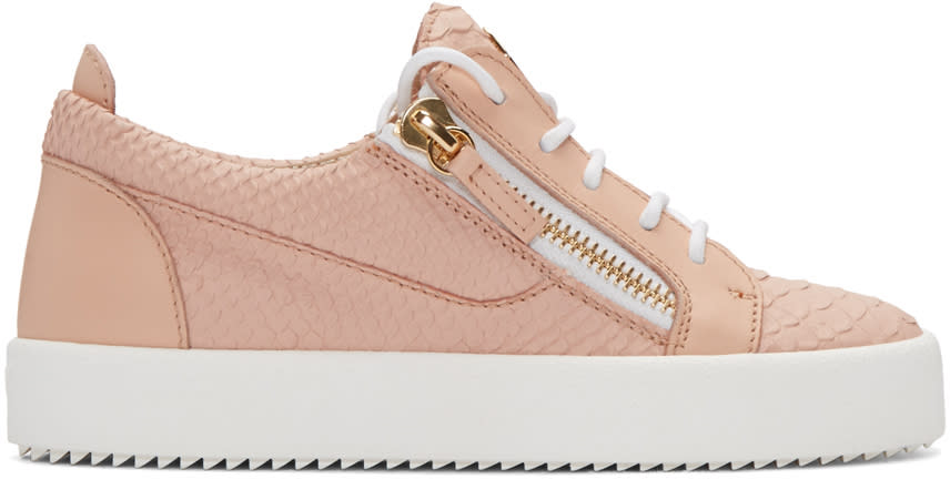 Giuseppe Zanotti Pink Python-embossed London Sneakers