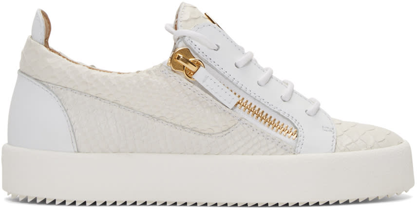 White Python-embossed London Sneakers