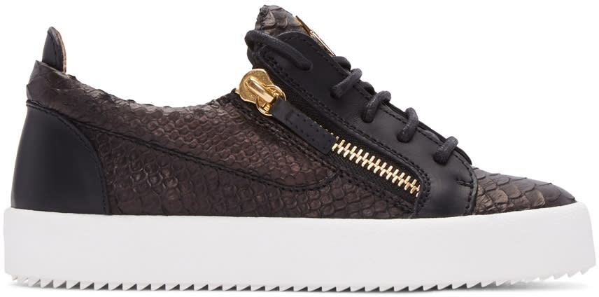 Giuseppe Zanotti Black Python-embossed London Sneakers
