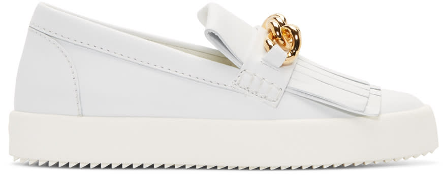 Giuseppe Zanotti White Leather May London Fringed Sneakers