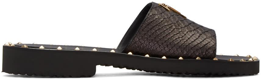 Giuseppe Zanotti Black Studded Zak Sandals