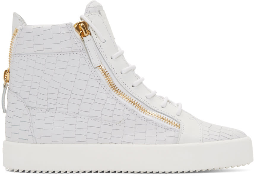 Giuseppe Zanotti White Croc-embossed High-top London Sneakers