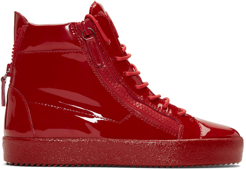Giuseppe Zanotti Red Patent London High-top Sneakers