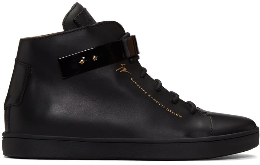 Giuseppe Zanotti Black Leather Slim High-top Sneakers