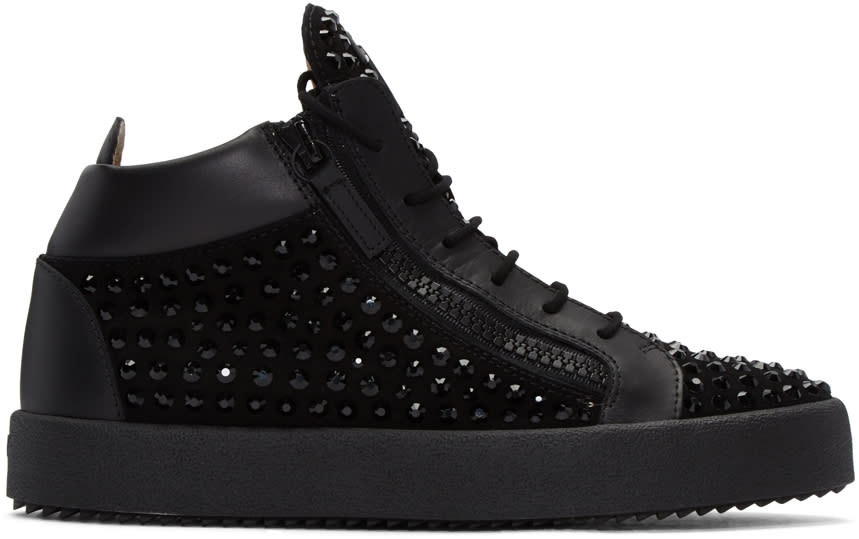 Giuseppe Zanotti Black Crystal London High-top Sneakers
