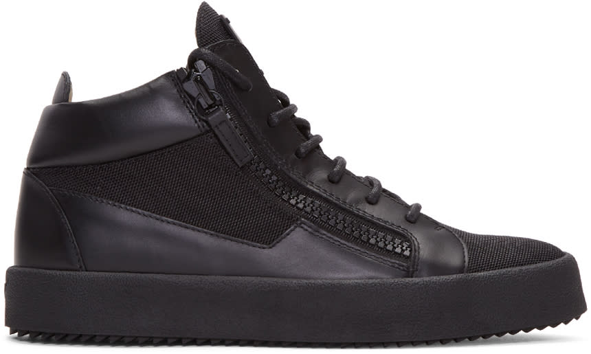 Giuseppe Zanotti Black Leather and Mesh London High-top Sneakers