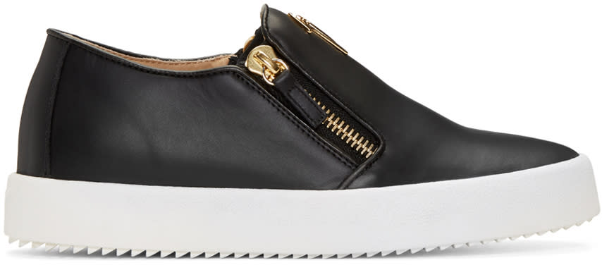 Giuseppe Zanotti Black Leather London Slip-on Sneakers