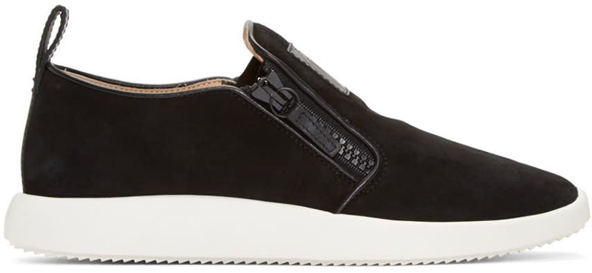Giuseppe Zanotti Black Suede Slip-on Sneakers