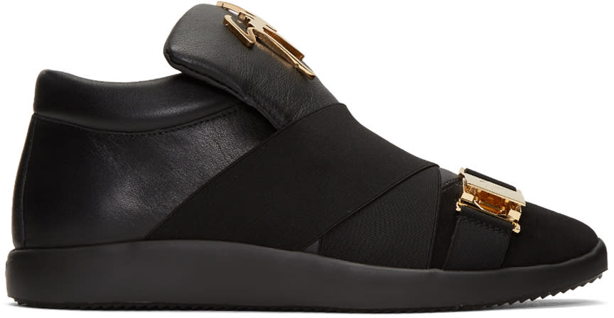 Giuseppe Zanotti Black Crossover Strap Slip-on Sneakers