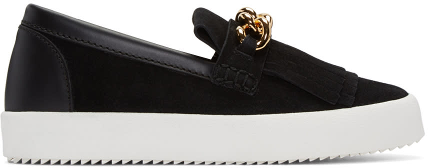 Giuseppe Zanotti Black Suede London Slip-on Sneakers