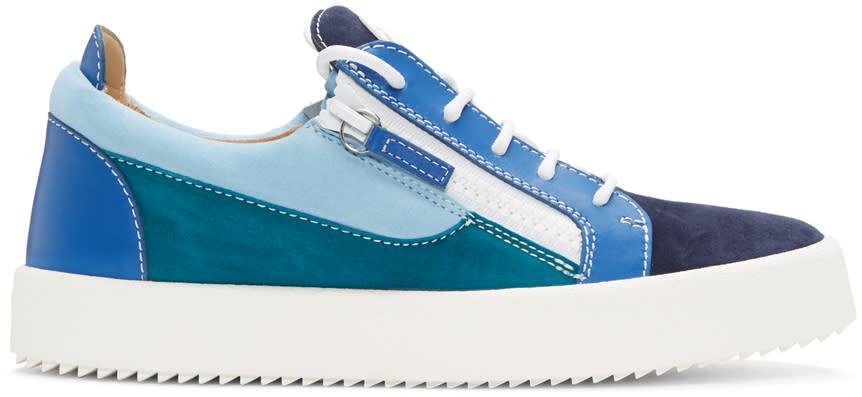 Giuseppe Zanotti Blue Colorblocked May London Sneakers