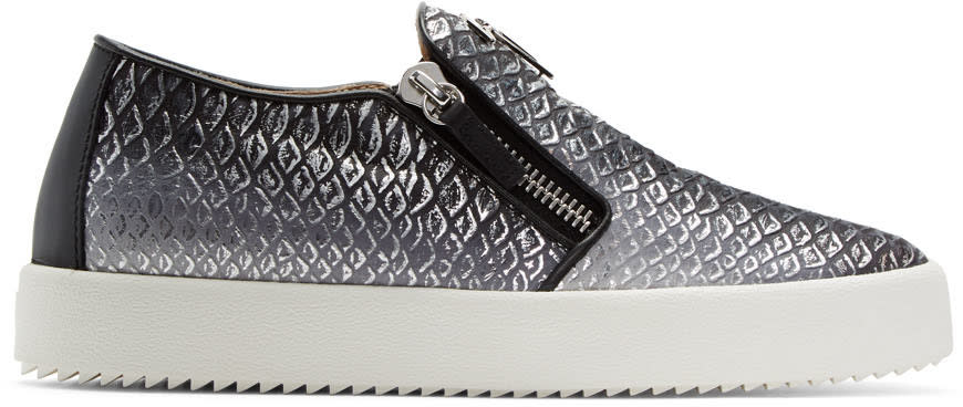 Giuseppe Zanotti Black and Silver May London Slip-on Sneakers