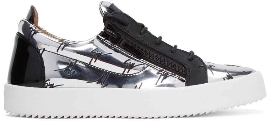 Giuseppe Zanotti Silver Logo May London Sneakers