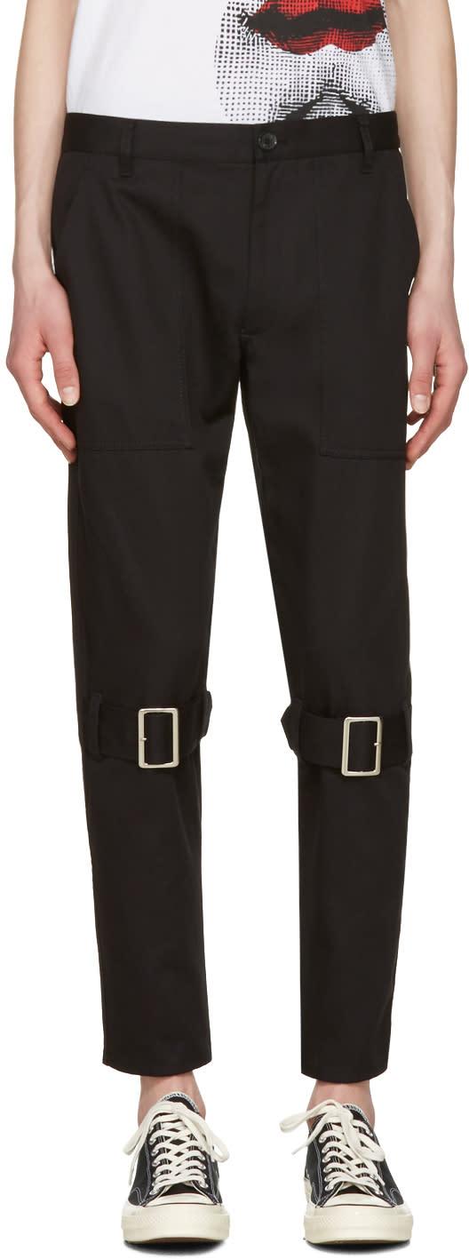 Image of Comme Des Garçons Shirt Black Belted Leg Trousers