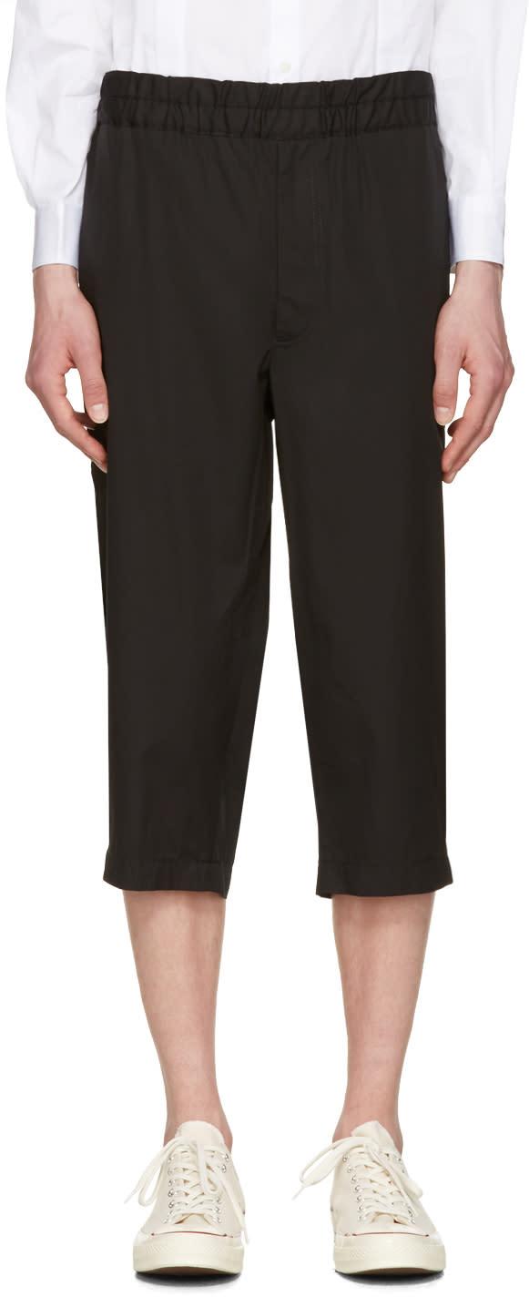 Comme Des Garcons Shirt Black Poplin Workstitch Shorts