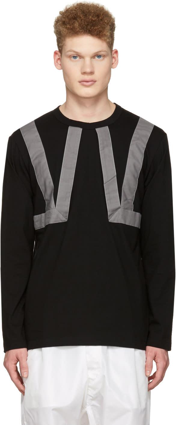Comme Des Garcons Shirt Black Twill Straps T-shirt