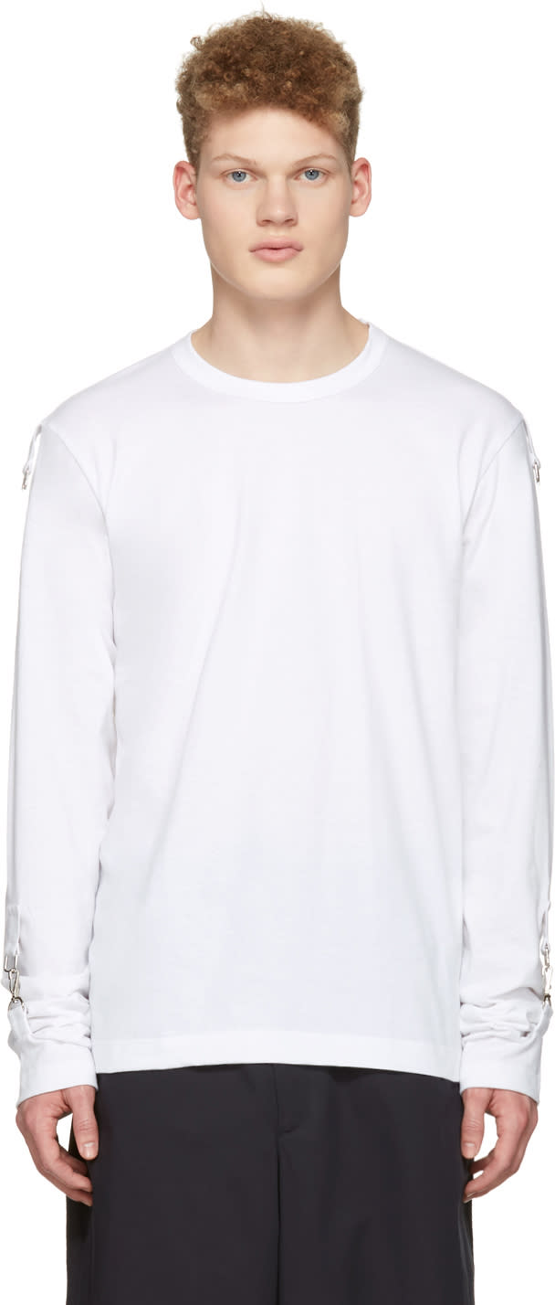 Comme Des Garcons Shirt White Adjustable Sleeves T-shirt