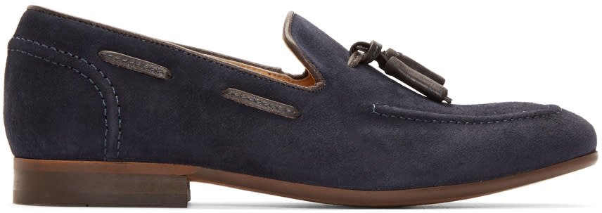 H By Hudson Navy Suede Pierre Loafers