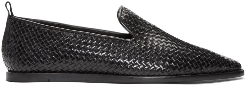 H By Hudson Black Ipanema Weave Loafers