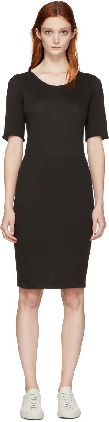 Raquel Allegra Black Jersey Fitted Dress