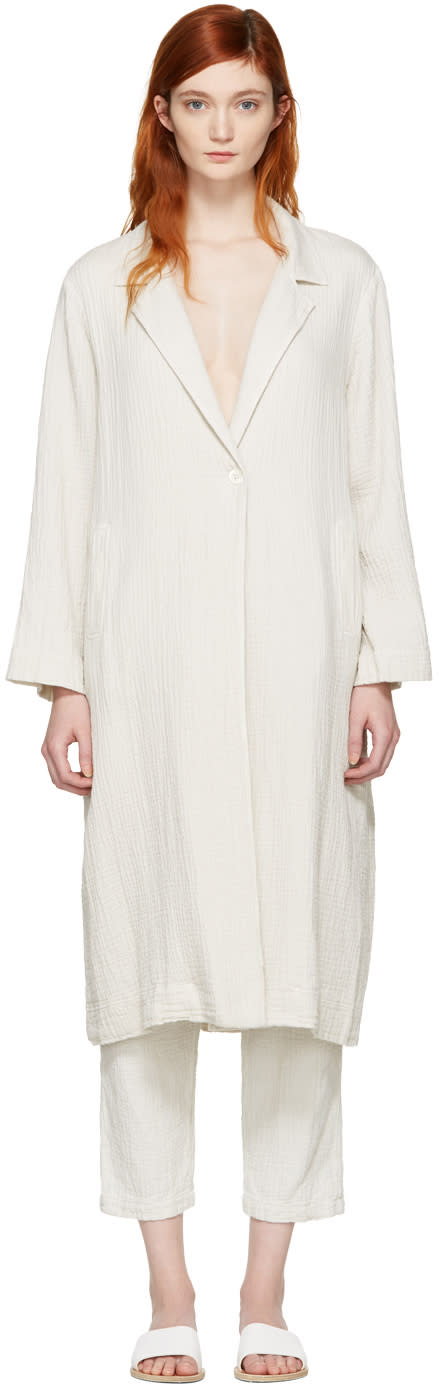 Raquel Allegra White Gauze Trench Coat