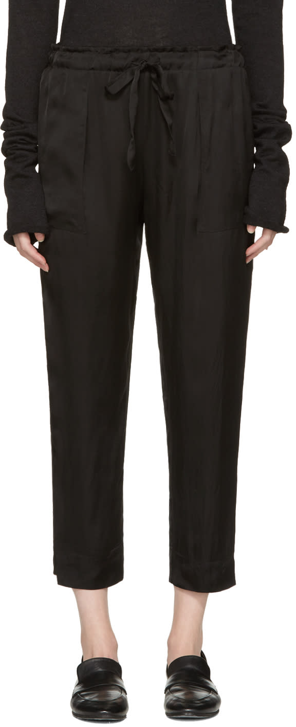 Raquel Allegra Black Liquid Satin Lounge Pants