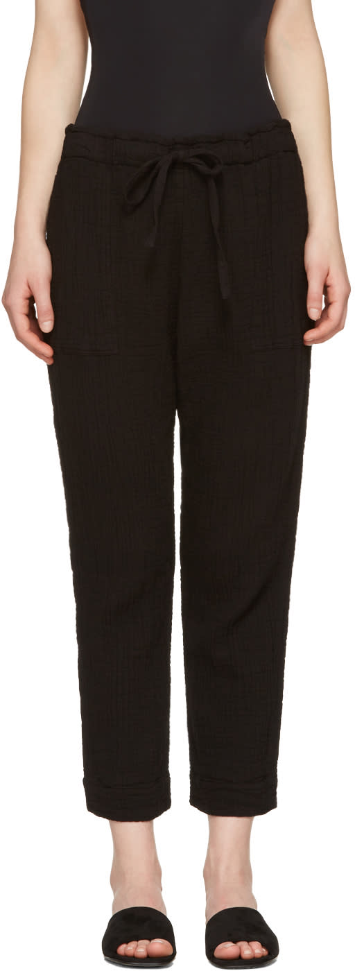 Raquel Allegra Black Gauze Drawstring Trousers