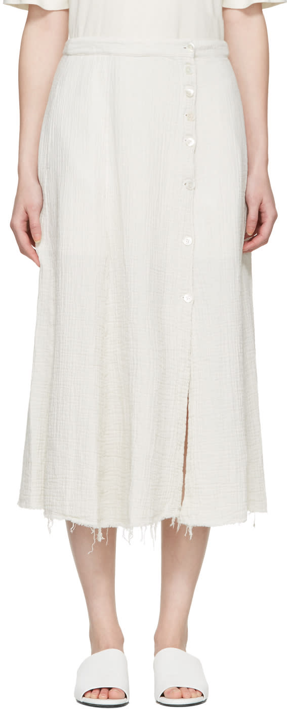 Raquel Allegra White Gauze Safari Skirt